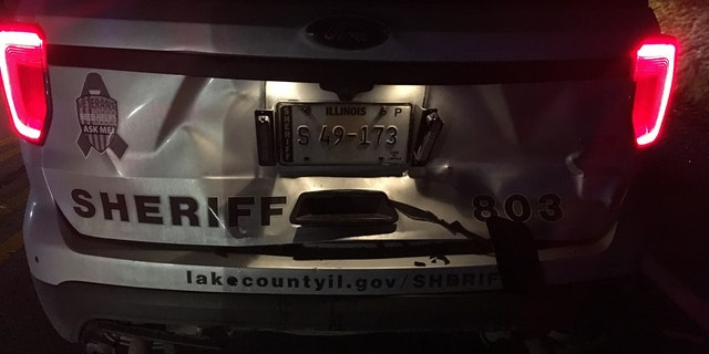 Damage to the Lake County Sheriff's police cruiser.