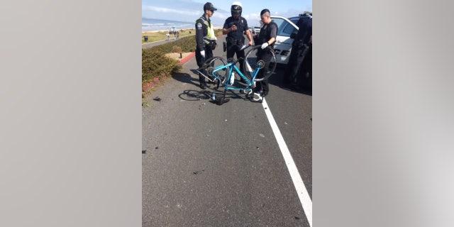 Tom Sovilla's bike following the crash.