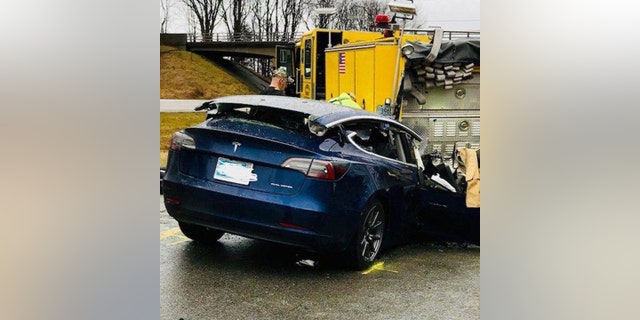 Westlake Legal Group ISP-TESLA Tesla crash site in Indiana being probed by NHTSA fox-news/us/us-regions/midwest/indiana fox-news/auto/make/tesla fox-news/auto/attributes/safety fnc/auto fnc Associated Press article 0929142d-fa78-50ac-9df8-1669f51f6e95