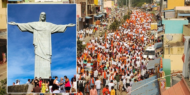 Hundreds of Hindu activists affiliated to India's ruling party rallied on January 13 to protest a planned Jesus statue that will rival Rio de Janeiro's Christ The Redeemer colossus for size. (Photo by STR/AFP via Getty Images)