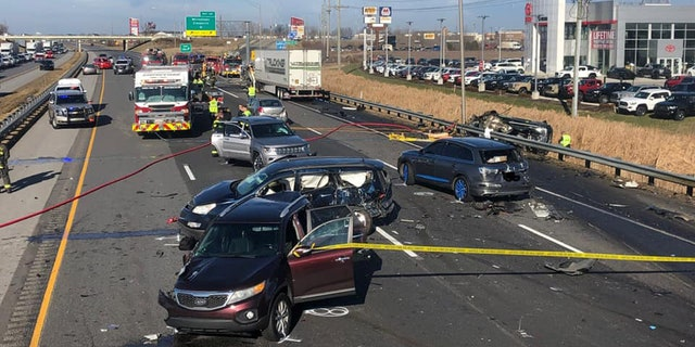 The crash happened on the northbound lanes of Interstate 65 around 11 a.m. on Sunday.