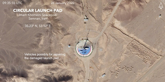 A second satellite image taken Sunday shows a circular launchpad and apparent work activity to repair the site. (Planet Labs Inc, Middlebury Institute of International Studies via AP)
