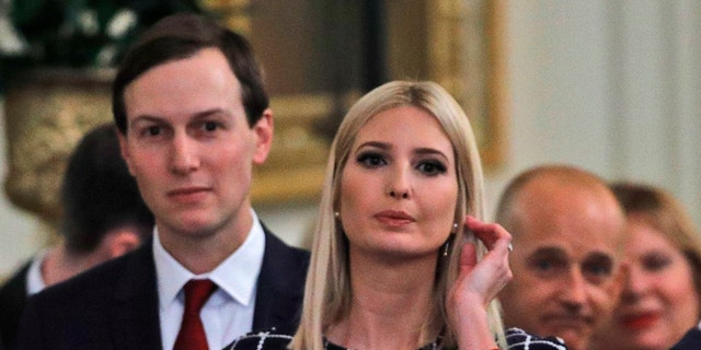 Senior advisers to the president, Ivanka Trump and Jared Kushner, in the East Room of the White House, Jan. 15, 2020, in Washington. (AP Photo/Steve Helber)