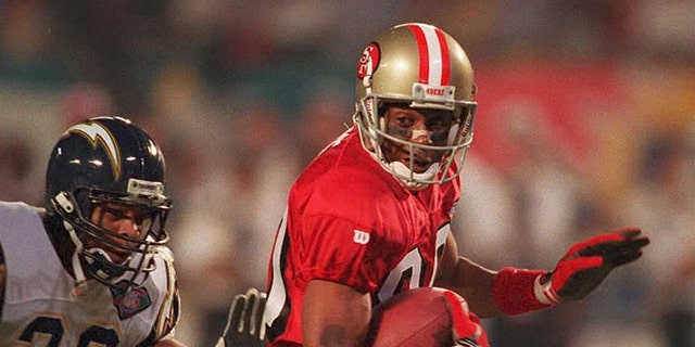 Jerry Rice is arguably the greatest player in NFL history. (Photo credit should read -/AFP via Getty Images)