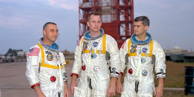 The crew of the ill-fated Apollo 1 capsule. From left to right: Grissom, White, Chaffee. Image: NASA