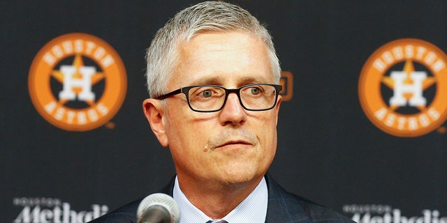 Jeff Luhnow, general manager and president of baseball operations for the Houston Astros addresses the media as he introduces players acquired at the trade deadline at Minute Maid Park on August 02, 2019, in Houston, Texas. (Photo by Bob Levey/Getty Images)