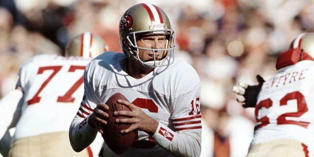Joe Montana #16, Quarterback for the San Francisco 49ers prepares to throw a pass during the National Football Conference East game against the New York Giants on 11 September 1988 at the Giants Stadium, East Rutherford, New Jersey, United States. The 49ers won the game 20 - 17. (Photo by Allsport/Getty Images)