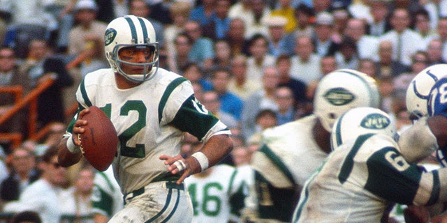 MIAMI, FL - JANUARY 12: Joe Namath #12 of the New York Jets drops back to pass against the Baltimore Colts during Super Bowl III at the Orange Bowl on January 12, 1969 in Miami, Florida. The Jets defeated the Colts 16-7. (Photo by Focus on Sport/Getty Images)