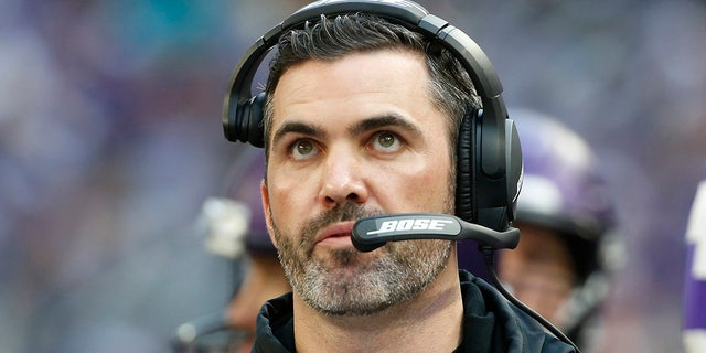 FILE - In this Sunday, Dec. 16, 2018, file photo, Minnesota Vikings interim offensive coordinator Kevin Stefanski watches from the sideline during the first half of an NFL football game against the Miami Dolphins in Minneapolis. (AP Photo/Bruce Kluckhohn, File)