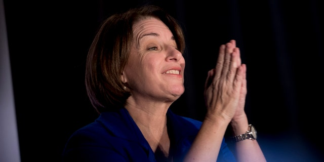 "Democratic presidential candidate Sen. Amy Klobuchar, D-Minn., speaks at ""We The People 2020: Protecting Our Democracy After Citizens United,"" at Curate, Sunday, Jan. 19, 2020, in Des Moines, Iowa. (AP Photo/Andrew Harnik)"