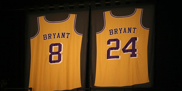 Los Angeles Lakers jersey numbers belonging to retired NBA player Kobe Bryant inside Staples Center before the start of the 62nd annual Grammy Awards on Sunday in Los Angeles. (Photo by Matt Sayles/Invision/AP)