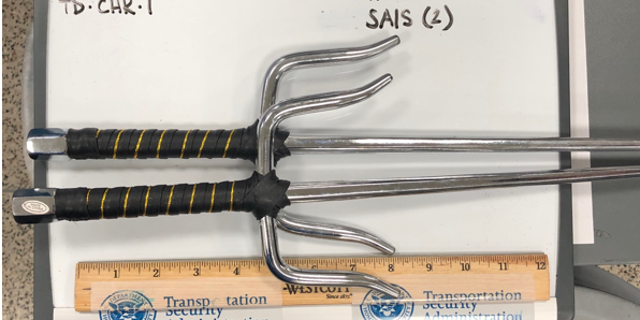Martial arts sais were confiscated from a passenger at New York's LaGuardia Airport.