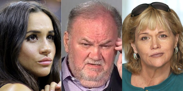 Meghan Markle (L), Thomas (C) and Samantha Markle (R)