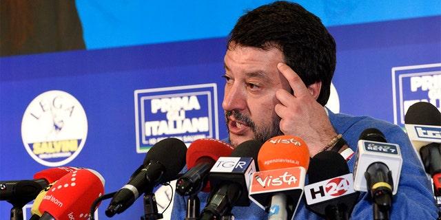 The League leader Matteo Salvini gives a press conference after polls closed in a regional election for the region of Emilia Romagna, in Bentivoglio, near Bologna, Italy, late Sunday. (Stefano Cavicchi/LaPresse via AP)