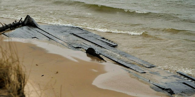 The wreck is about one third to a half reburied in the sand, according to the West Michigan Underwater Preserve (WMUP).