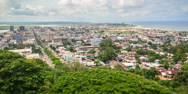 Monrovia, the capital city of Liberia, West Africa, seen from the top of the ruins of Hotel Ducor. The main streets of the peninsula are clearly visible.