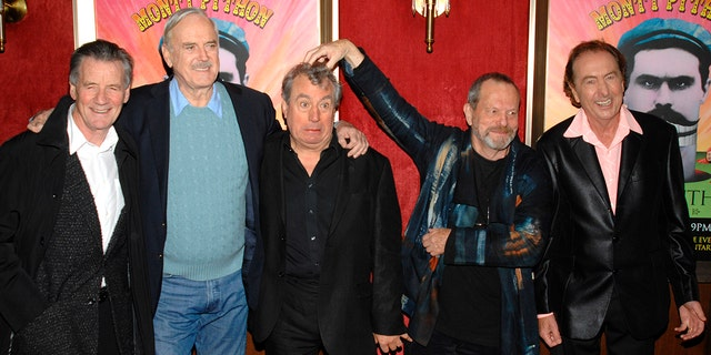 """In this Thursday, Oct. 15, 2009 file photo from left, actors Michael Palin, John Cleese, Terry Jones, Terry Gilliam and Eric Idle attend the IFC and BAFTA premiere of """"Monty Python: Almost The Truth (The Lawyers Cut)"""", in New York. Terry Jones, a member of the Monty Python comedy troupe, has died at 77. Jones's agent says he died Tuesday Jan. 21, 2020. In a statement, his family said he died """"after a long, extremely brave but always good-humored battle with a rare form of dementia, FTD""""."""