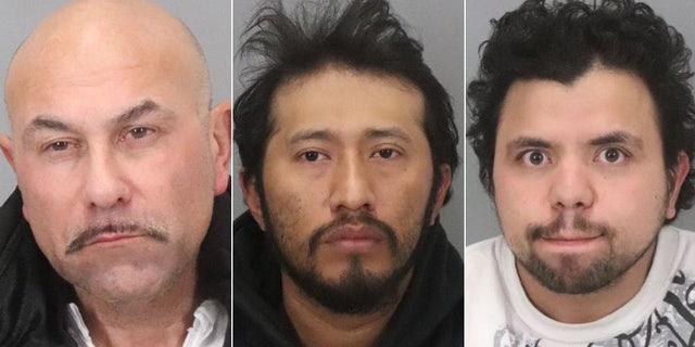 Mugshots forAlbert Vasquez, 55, Antonio Quirino Salvador, 34, and Hediberto Gonzalez Avarenga, 31.<br>