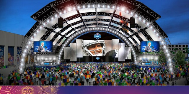 NFL Draft rendering of the main stage, located by Caesars Forum.