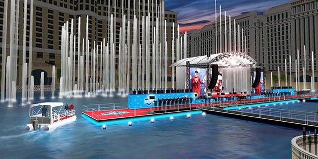 A rendering of the Red Carpet Stage, located in the Fountains of the Bellagio.