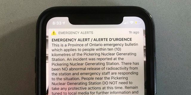 "An emergency alert issued by the Canadian province of Ontario reporting an unspecified ""incident"" at a nuclear plant is shown on Sunday."