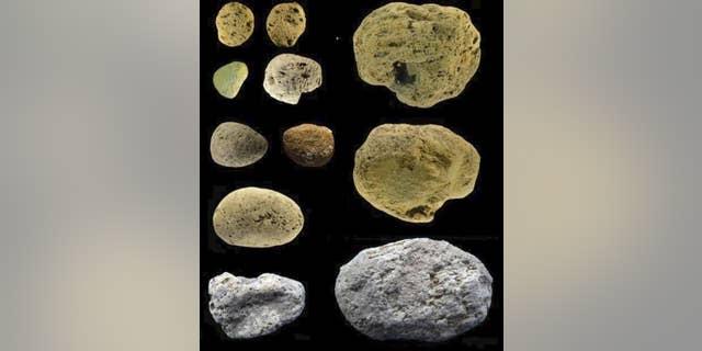 Pumice stones discovered in the Grotta dei Moscerini in Italy.