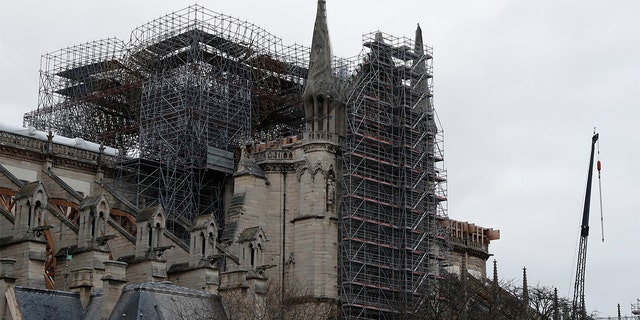 Workers continued to stabilize Notre-Dame Cathedral's structure months after the fire.