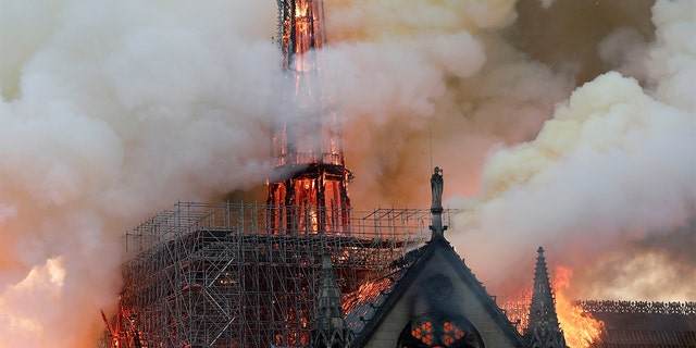 Smoke billowing as flames engulfed the spire of Notre-Dame Cathedral in Paris, in April 2019.