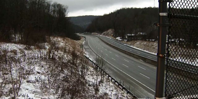 The Pennsylvania Turnpike can be seen empty after it was closed in both directions following a major crash early Sunday.
