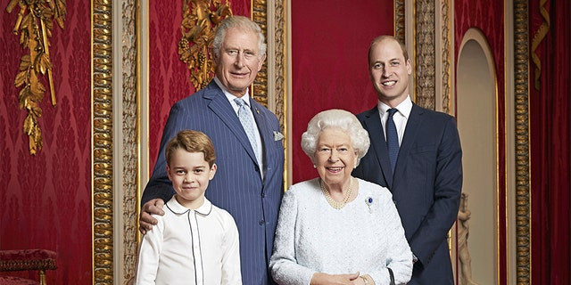Dec. 18, 2019: Britain's Queen Elizabeth, Prince Charles, Prince William and Prince George pose for a photo to mark the start of the new decade in the Throne Room of Buckingham Palace, London. This is only the second time such a portrait of the monarch and the next three in line to the throne has been released, the first was in April 2016 to celebrate Her Majesty's 90th birthday.