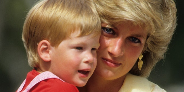 Diana, Princess of Wales with Prince Harry on holiday in Majorca, Spain on August 10, 1987.?