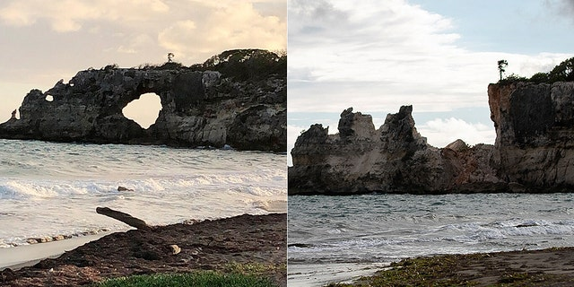 Local officials said the rock formation had been damaged by previous termors before the quake on Monday.