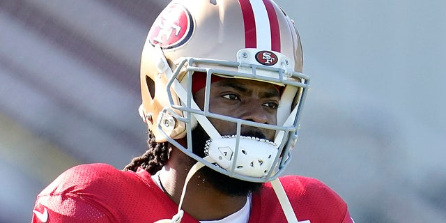 San Francisco 49ers cornerback Richard Sherman (25) and defensive back K'Waun Williams (24) practice at the team's NFL football training facility in Santa Clara, Calif., Friday, Jan. 24, 2020. (AP Photo/Tony Avelar)