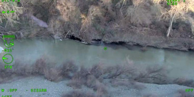 Image from video taken from a Sonoma County Sheriff's Office helicopter after a spill at the Rodney Strong in Healdsburg, Calif., contaminated the Russian River with red wine. (Sonoma County Sheriff's Office)