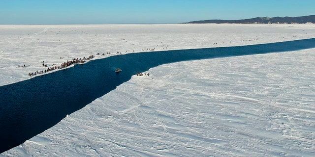 A group of fishermen in Russia use a smaller piece of ice as a raft trying to row to the coast, as the ice floe with stranded fishermen on them slowly drifted further away from the land in eastern Siberia, Russia.