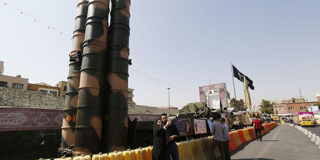 A Russian-made S-300 air defense system displayed on Baharestan square in Tehran on September 25, 2017.
