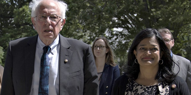 Sen. Bernie Sanders and Rep. Pramila Jayapal on Capitol Hill in June 2019.