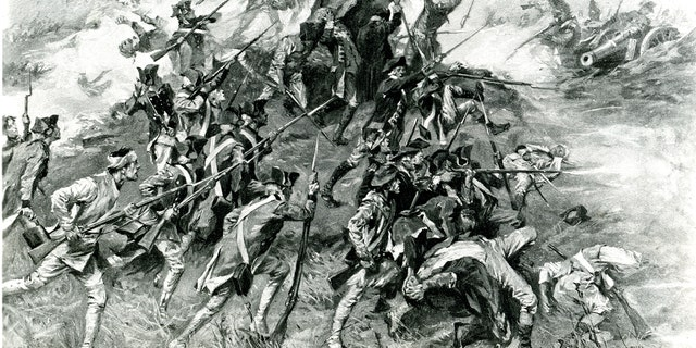 Illustration showing fighting during the second battle of Savannah, Ga., during the American Revolution, October 1779. Illustration by A.I. Keller.