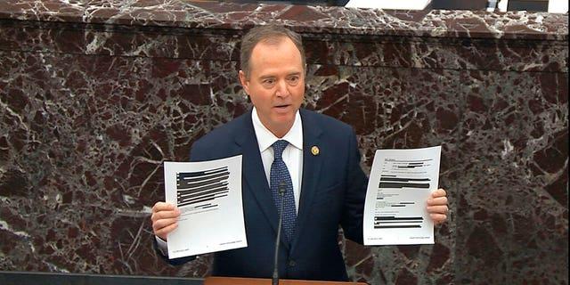 House impeachment manager Rep. Adam Schiff, D-Calif. (Senate Television via AP)