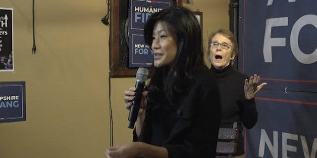 Andrew Yang's wife, Evelyn, speaks at an event about family and autism in New Hampshire.