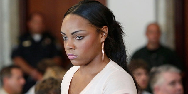 Shayanna Jenkins, fiancee of former New England Patriots NFL football tight end Aaron Hernandez (AP Photo/Bizuayehu Tesfaye)