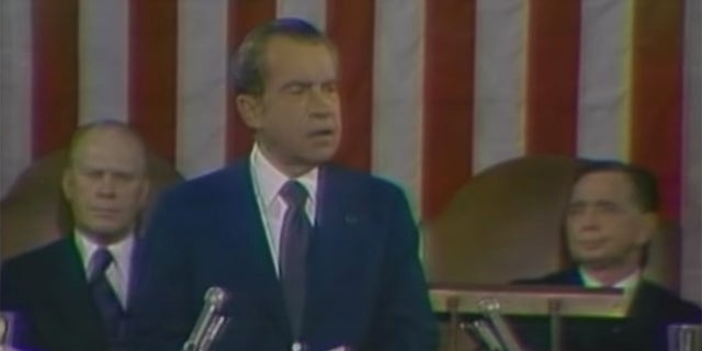 Richard Nixon addressed Congress in his 1974 State of the Union speech.
