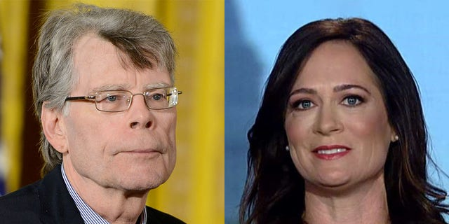 Stephen King, left, and fellow author Don Winslow tried to persuade White House press secretary Stephanie Grisham to hold a traditional press briefing at the White House.