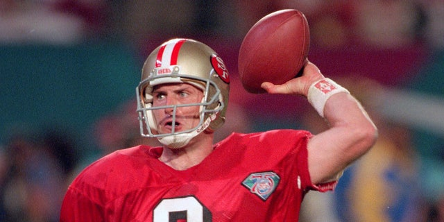 Steve Young set the record for most touchdown passes in a single Super Bowl. (Photo by Focus on Sport/Getty Images)