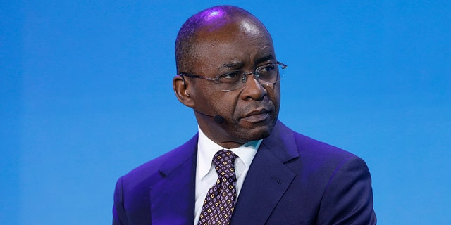 Strive Masiyiwa, founder and chairman of Econet Wireless Global Ltd., attends a panel discussion at the Bloomberg New Economy Forum in Singapore, in 2018. Striking doctors in Zimbabwe accepted his offer to pay them if they go back to work. (Justin Chin/Bloomberg via Getty Images)