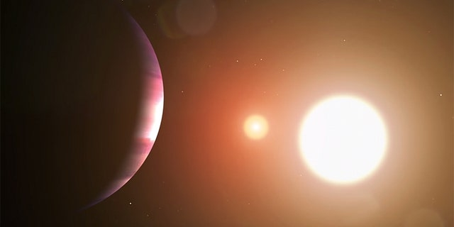 Artist's impression of planet TOI 1338 b and its two stars.