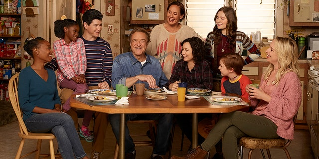'The Conners' stars Maya Lynne Robinson as Geena Williams-Conner, Jayden Rey as Mary, Michael Fishman as D.J. Conner, John Goodman as Dan Conner, Laurie Metcalf as Jackie Harris, Sara Gilbert as Darlene Conner, Emma Kenney as Harris Conner, Ames McNamara as Mark, and Lecy Goranson as Becky Conner. (Robert Trachtenberg/Walt Disney Television via Getty Images)