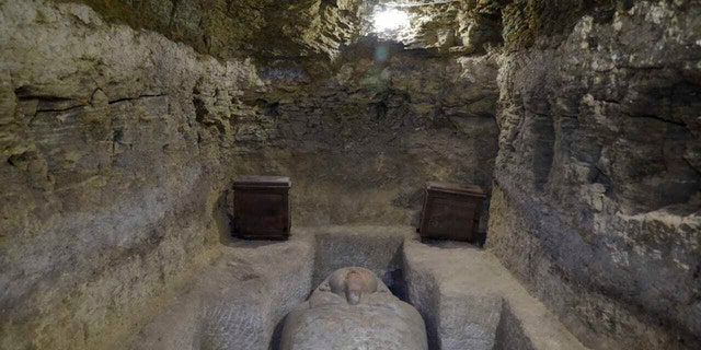 This photo provided by Egypt's antiquities ministry, shows one of sarcophagi discovered in the village of Tuna al-Gabal, near the Nile Valley city of Minya.