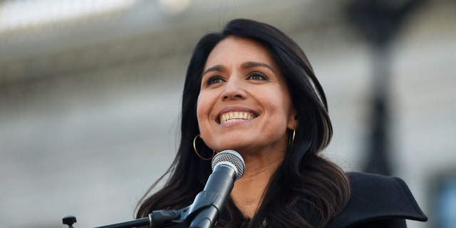 Democratic presidential contender Tulsi Gabbard at a Martin Luther King Jr. Day rally on Monday, Jan. 20, 2020, in Columbia, S.C. (AP Photo/Meg Kinnard)