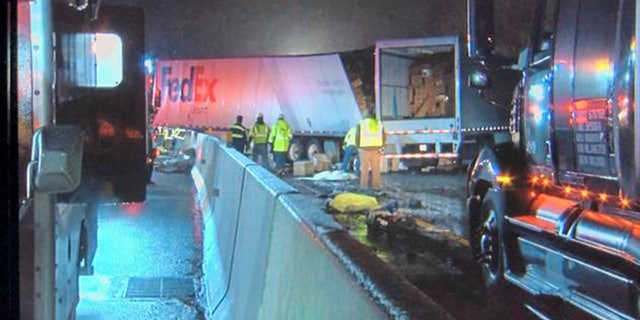 Emergency crews respond to a fatal crash on the Pennsylvania Turnpike in Mount Pleasant Township early Sunday morning, Jan. 5, 2020.